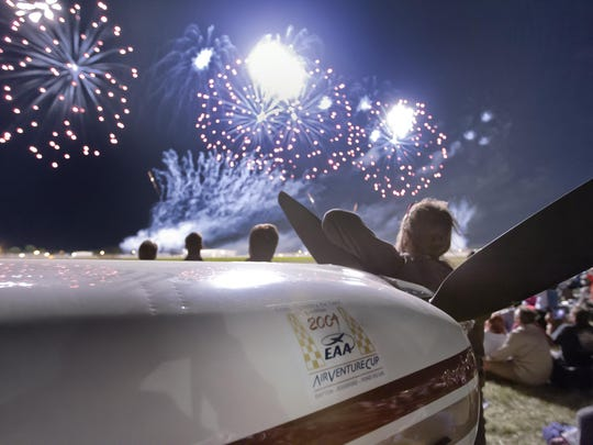 AirVenture's finale of the Saturday night airshow wowed the crowd with its firework display Aug. 3, 2013.