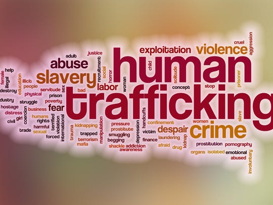 Human trafficking word cloud with abstract background