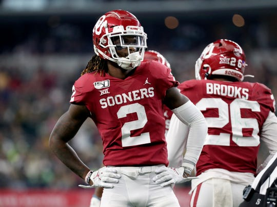 Dec 7, 2019; Arlington, TX, USA; Oklahoma Sooners wide receiver CeeDee Lamb (2) reacts during the second half against the Baylor Bears in the 2019 Big 12 Championship Game at AT&T Stadium. Mandatory Credit: Kevin Jairaj-USA TODAY Sports