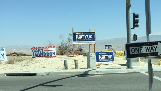 Campaign signs are common sights across the Coachella Valley during election season. A Desert Sun reader pleads with candidates to take them down now that the election is over.