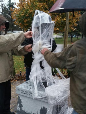 The fallen soldier monument was installed last week at the Veterans' Memorial in Central Park.