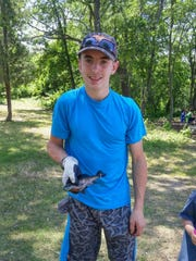 Tyler Massie caught the largest fish, a 9¾-inch Blue