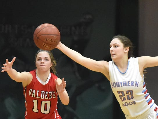 Southern Door's Kendra Dantoin, right, intercepts a