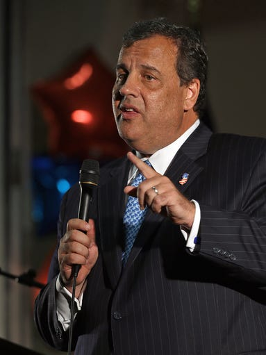New Jersey Gov. Chris Christie addressed the crowd during a fundraising event for Iowa Gov. Terry Branstad held at the Mississippi Valley Fairgounds in Davenport on Thursday July 17, 2014.