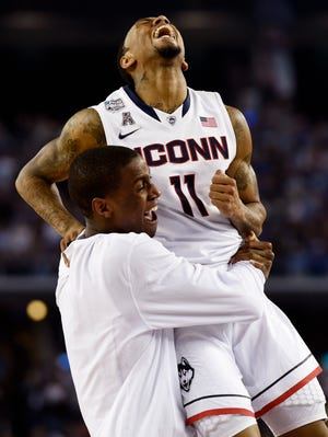 Connecticut Huskies guard Ryan Boatright (11) celebrates after defeating the Kentucky Wildcats in the championship game.