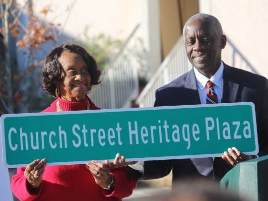 Anderson City Councilwoman Beatrice Thompson and Mayor Terence Roberts joined other city officials Sunday in  dedicating the Church Street Heritage Plaza in downtown Anderson.