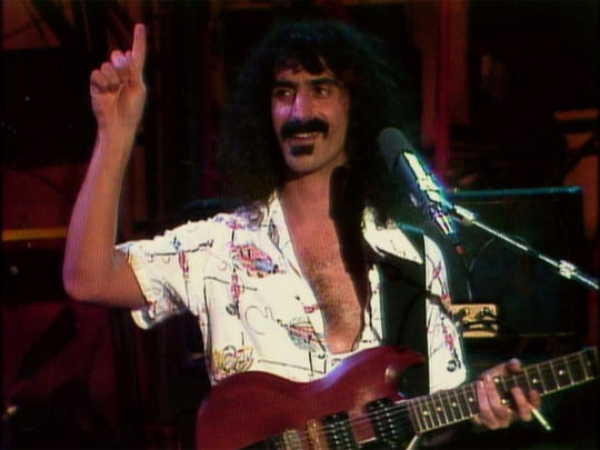 "Frank Zappa in a scene from ""Eat That Question: Frank Zappa in His Own Words."""