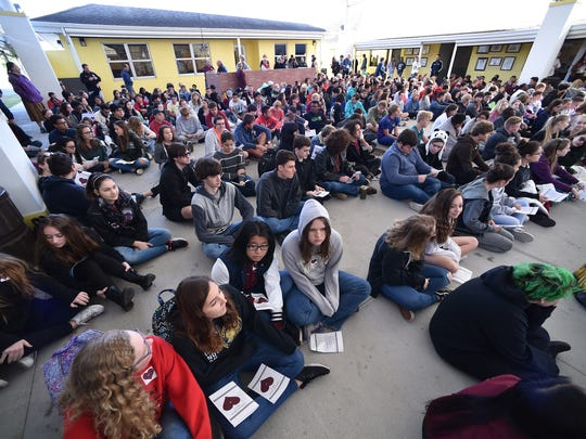 More than 650 students and faculty participated in a school-wide Walk-In for School Safety ceremony at Indian River Charter High School Wednesday, March 14, 2018, in Vero Beach. The students preferred a Walk-In rather than a Walkout during National Walkout Day, to honor the 17 victims killed in the Marjory Stoneman Douglas High School shootings in Parkland. Their event coincided with walkouts across the nation as part of a National School Walkout event.