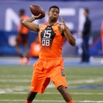 Jameis Winston throws a pass during the NFL Scouting Combine on Feb. 21 at Lucas Oil Stadium in Indianapolis. Winston has been working to prove that he's matured.