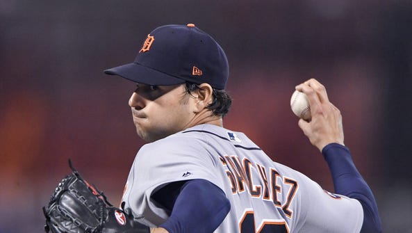 Tigers starting pitcher Anibal Sanchez throws against