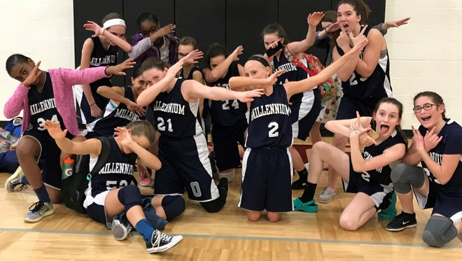 The Millennium Middle School seventh-grade girls basketball team finished undefeated.