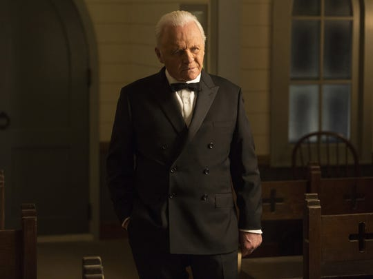 "This image released by HBO shows Anthony Hopkins in a scene from ""Westworld."" Hopkins was nominated for an Emmy Award for outstanding lead actor in a drama series on Thursday, July 13, 2017. The Emmy Awards ceremony, airing Sept. 17 on CBS, will be hosted by Stephen Colbert.  (HBO via AP)"