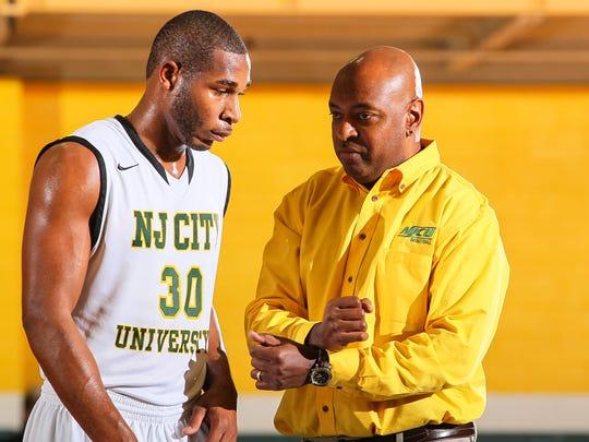 Sam Toney with NJCU head coach Marc Brown.