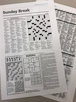 The Coloradoan's new Sunday Break section includes puzzles and a returned weekly TV listing.