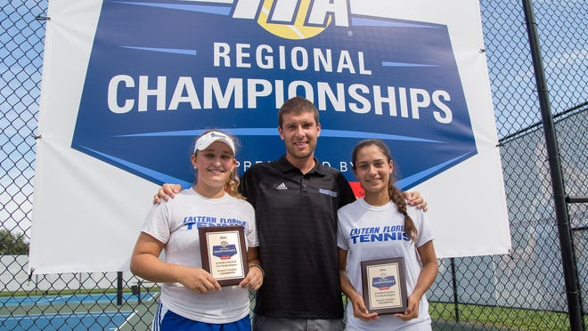Josephine Karcher, left and Luisa Varon are headed to Arizona for the ITA National Small College Championships from Oct. 13-16. Here they are seen with Eastern Florida State coach Jerry Thor.