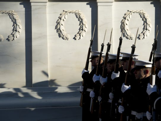 The white marble Tomb of the Unknowns at Arlington