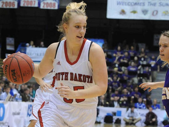University of South Dakota's Nicole Seekamp dribbles the ball down the court while Western Illinois' Rebecca Henricson guards during the Summit League Tournament at the Sioux Falls Arena on Sunday, March 9, 2014.