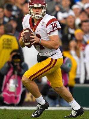 Southern California quarterback Sam Darnold looks to pass during the first half of the Rose Bowl NCAA college football game against Penn State Monday in Pasadena.