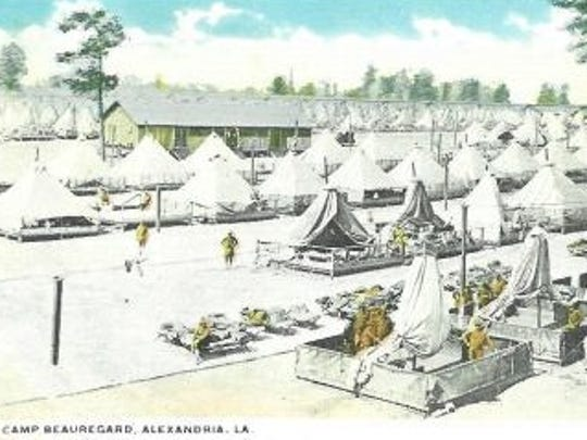 This postcard depicts large-scale mobilization at Camp Beauregard, which played a key role in training troops for World Wars I and II.