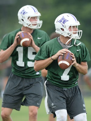 Harris Roberts (15), the only quarterback behind P.J. Blazejowski (7) to play meaningful series in 2017, is one of the toop contenders to start at quarterback for Furman in 2018.