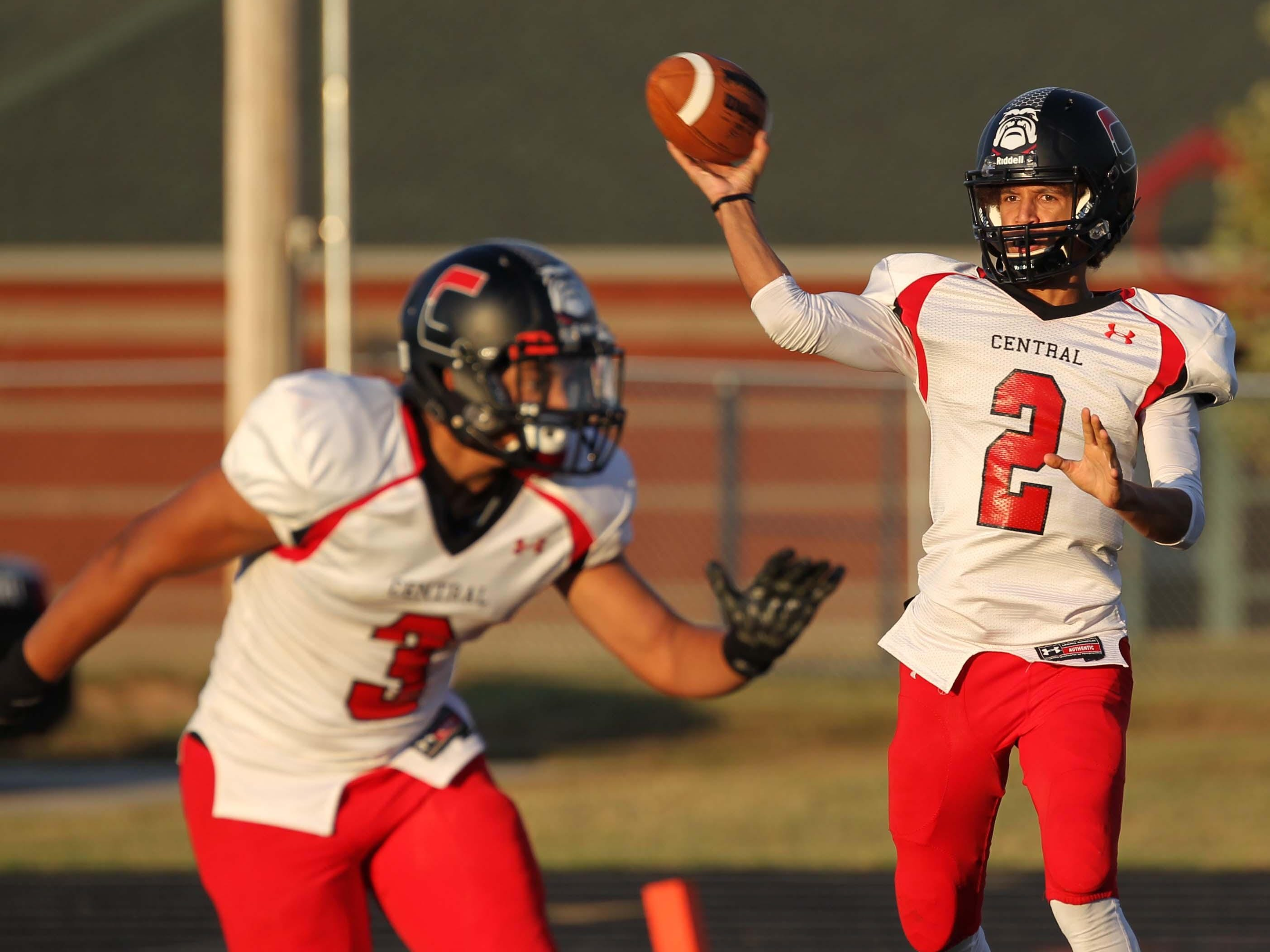 From left, Central running back Garrett King and quarterback Quintin Batson have been offensive starters for the Central Bulldogs since the opening game of their freshman season.