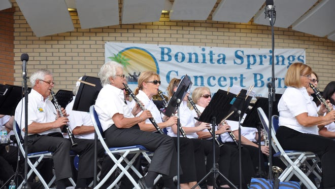 """The Bonita Springs Concert Band clarinet section plays """"The Star-Spangled Banner"""" to open the Nov. 6 outdoor concert at Riverside Park."""