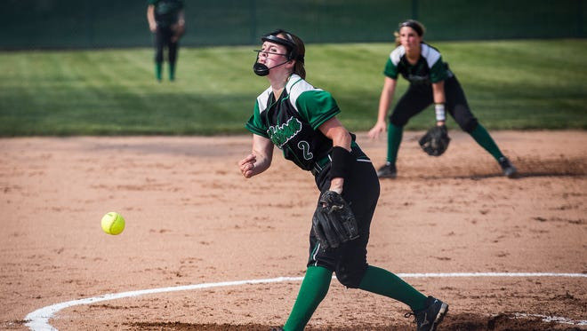 Yorktown's Kara Tucker pitches against Delta during their game at Wes-Del High School Wednesday, May 10, 2017.