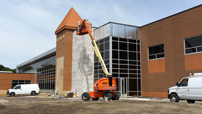 Construction continues in June 2017 at the new Sartell Community Center. The construction sector led the way with double digit job growth in Central Minnesota in the year ending with July 2017.