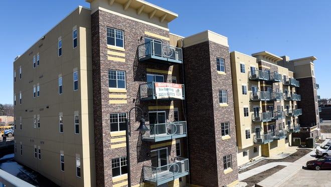 The new Mississippi Lofts apartments are pictured Thursday, March 29, in Sauk Rapids. The building, located on North Benton Drive, will open Friday.