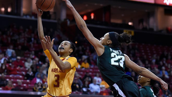 Maryland's Brene Moseley, left, shoots as Michigan State's Aerial Powers defends during the second half of MSU's loss Friday in College Park, Md.