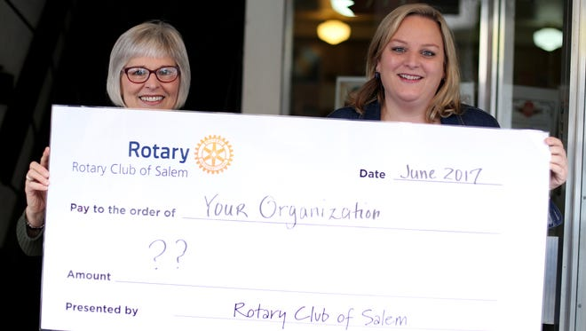 The Rotary Club of Salem, represented by Marybeth Beall, left, and Laura Aguero at the April 1 edition of Holding Court, announces the recipients of eight grants totaling nearly $11,000.