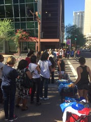 A crowd lined up outside the Phoenix Convention Center before Michelle Obama's speech on Oct. 20, 2016.