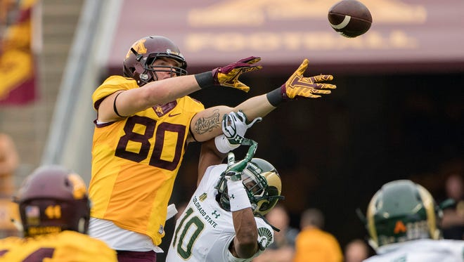 CSU cornerback Kevin Nutt breaks up a pass intended for Minnesota tight end Nate Wozniak during a Sept. 24 game in Minneapolis. Nutt and CSU's secondary has made significant improvement since the start of the season as players gained valuable experience.