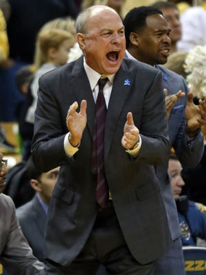 Feb 10, 2018; Columbia, MO, USA; Mississippi State Bulldogs head coach Ben Howland reacts to a play against the Missouri Tigers in the first half at Mizzou Arena. Mandatory Credit: Jay Biggerstaff-USA TODAY Sports
