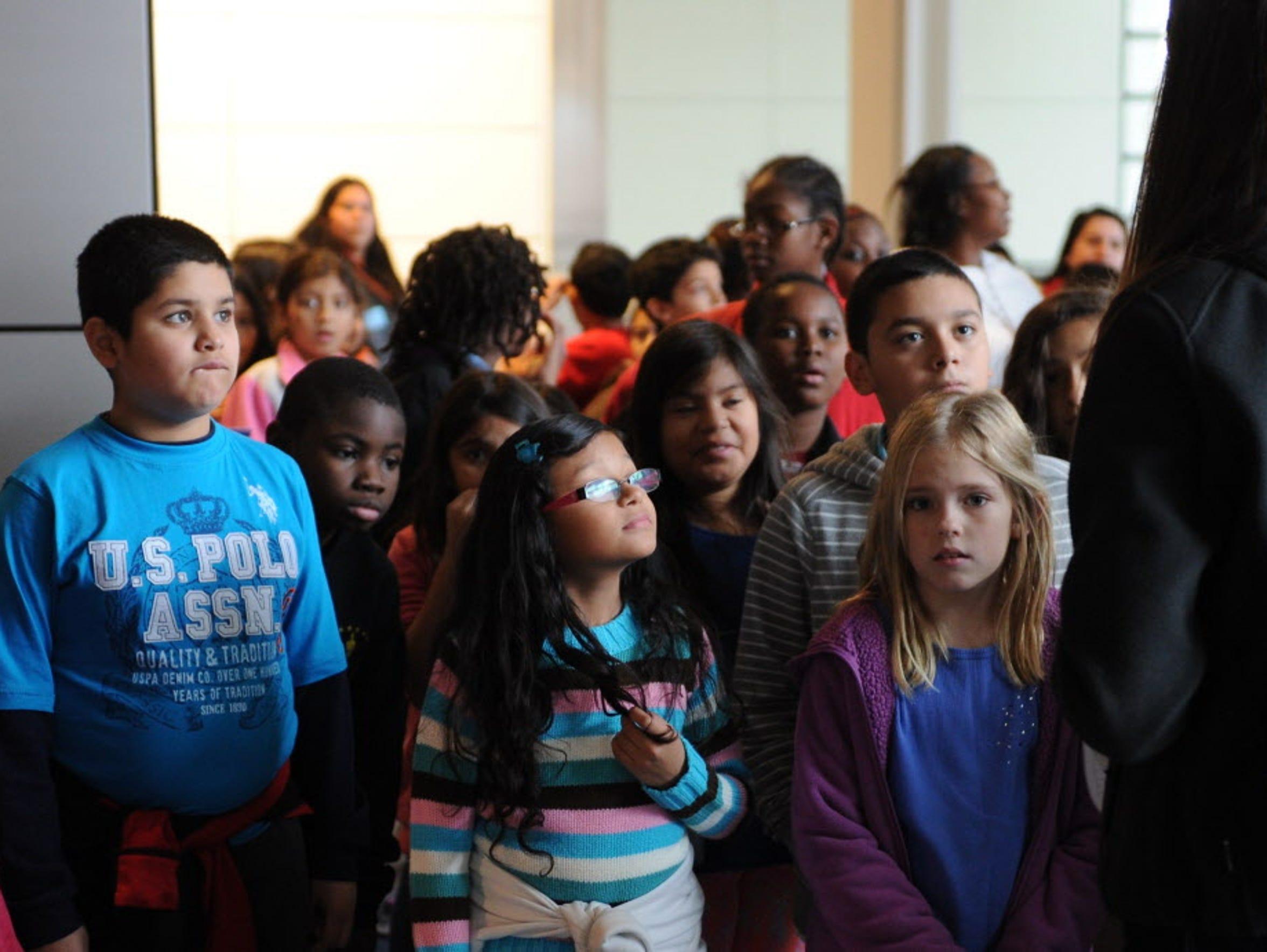 Schoolchildren visit the Newseum in  Washington, D.C.