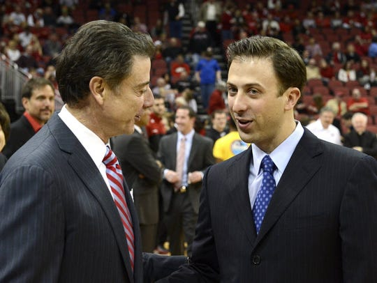 Former Louisville head coach Rick Pitino, left, will no doubt be rooting for his son Richard Pitino, right, when his Minnesota team plays Louisville in the NCAA Tournament in Des Moines on Thursday.