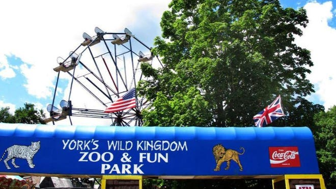 The entrance to York's Wild Kingdom Zoo & Fun Park at York Beach, Maine.