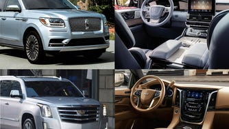 Top row: 2018 Lincoln Navigator Black Label; bottom row: 2018 Cadillac Escalade