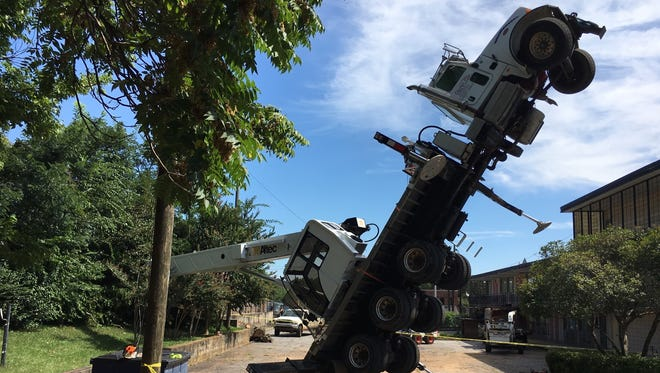 A crane collapsed in downtown Anderson on Monday afternoon.
