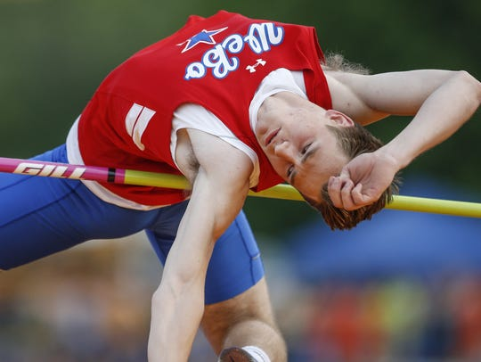 Logan Benson, of Western Boone, wins high jump with