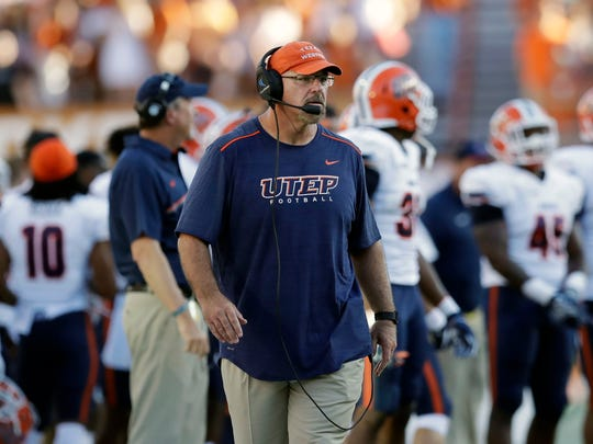 UTEP head coach Sean Kugler during the first half of