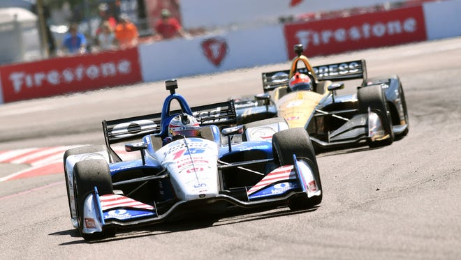 Graham Rahal (15) races into turn two before finishing second in the IndyCar Firestone Grand Prix of St. Petersburg Sunday, March 11, 2018, in St. Petersburg, Fla.