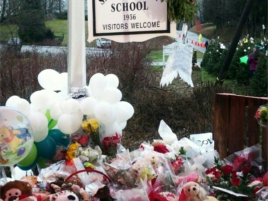 York Daily Record Chris Dunn took this photograph of a memorial in Newtown, Conn., while she and other YDR staffers were working there last week.
