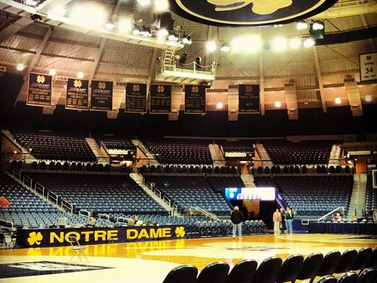 Notre Dame has a neat setup at the Joyce Center, which houses its basketball offices and meeting rooms as well as Purcell Pavilion, pictured here.