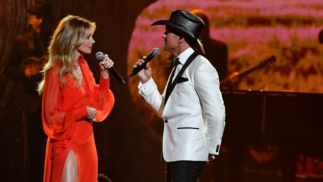 "Faith Hill and Tim McGraw perform their new single ""The Rest of Our Life"" during the CMA Awards on Wednesday, Nov. 8, 2017, at Bridgestone Arena in Nashville."