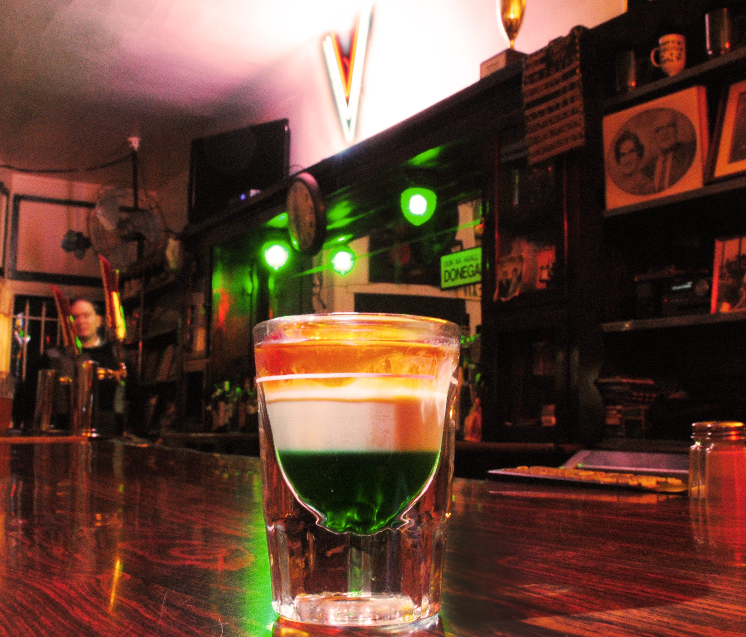 While at the Golden Ace Inn, be sure to order a signature Irish flag drink made with creme de menthe, Baileys Original Irish Cream liquor and Jameson Irish Whiskey.