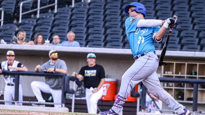 Kurtis Byrne hit a three-run home run to help the Amarillo Sod Dogs to a 7-3 victory over the Texarkana Twins on Wednesday night at Hodgetown.