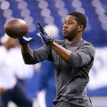 Former Colts receiver Darrius Heyward-Bey warms up on the field Dec. 1, 2013. Heyward-Bey agreed to terms with Pittsburgh Wednesday.