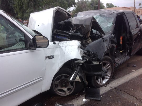 The accident trapped several people inside the vehicles.