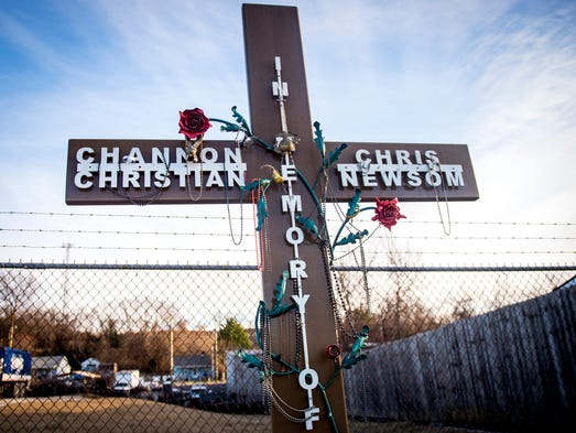 A memorial dedicated to Channon Christian and Chris